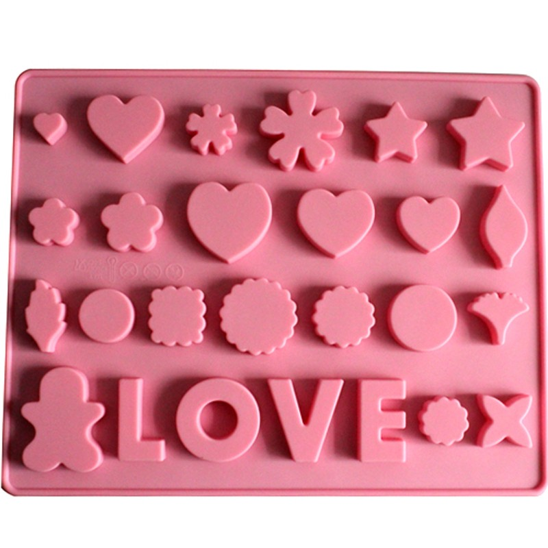 silicone chocolate candy mould love with hearts stars chocolate candy clay fondant mold