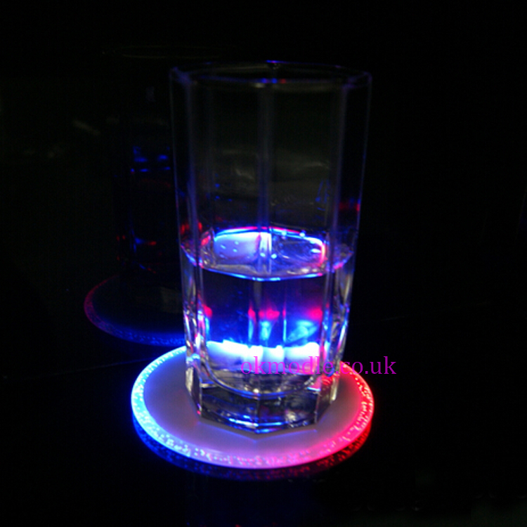 Cheap rgb color changing light up led drink coasters mats for clear bottles cups glasses - Lighted coaster ...