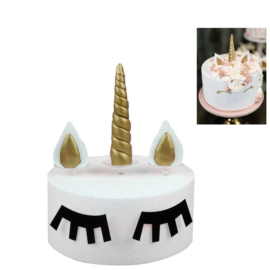 Buy Silver Unicorn Horn Ears Cupcake Toppers Birthday