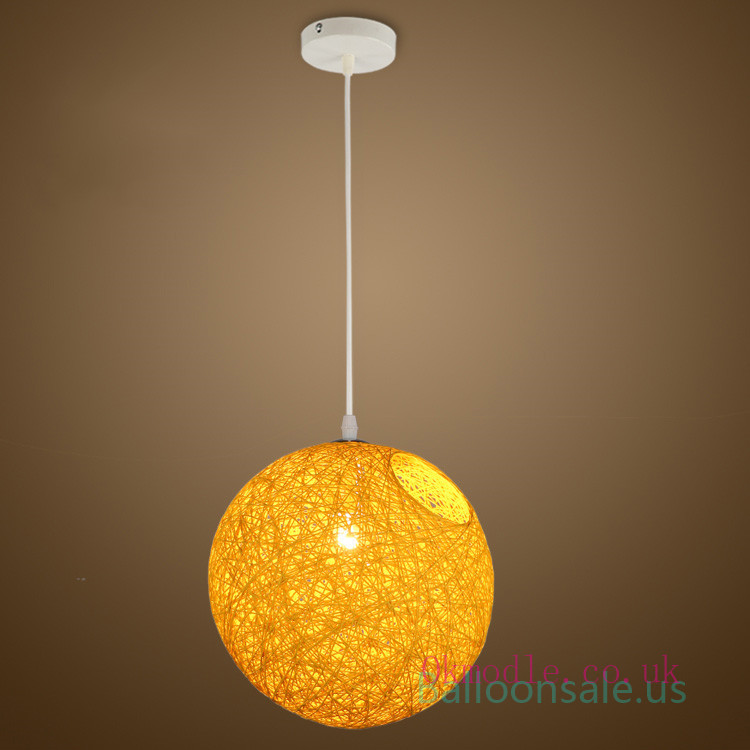 Cheap Yellow Round Woven Pendant Lampshade