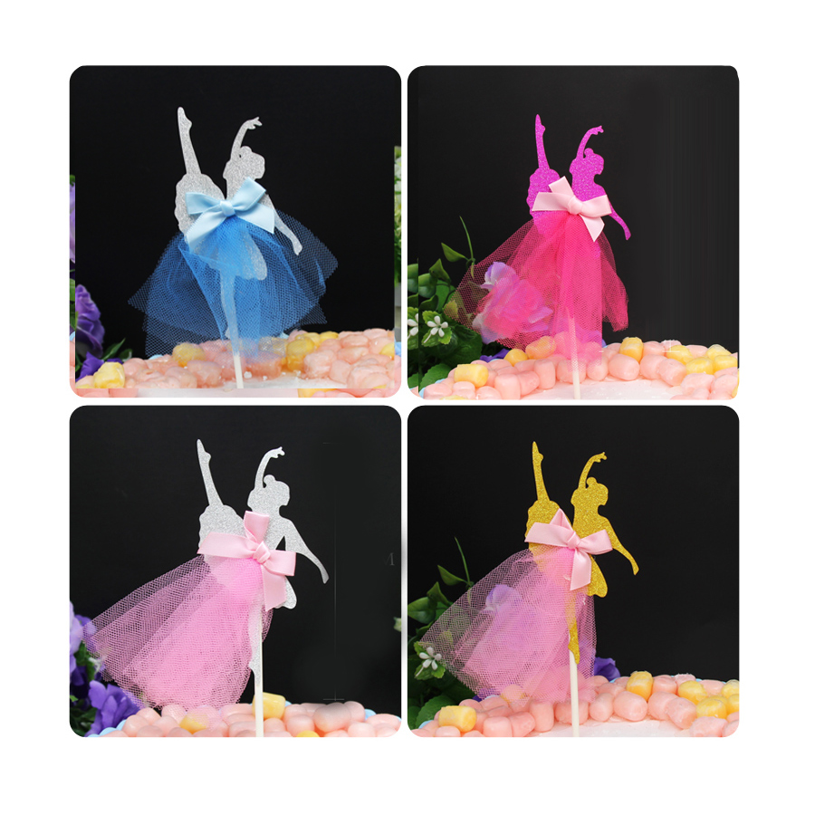 Cheap 4 Colors Ballerina Dancer Cake Toppers UKBirthday Cake