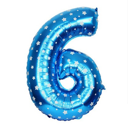 Cheap Blue Number 6 Balloon With Dots 16 Inch Foil Number